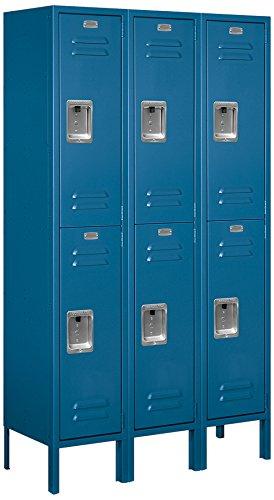 Salsbury Industries Assembled 2-Tier Standard Metal Locker with Three Wide Storage Units, 5-Feet High by 12-Inch Deep, Blue