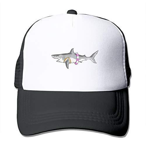 Shark Lifeguard Trucker Hat Snap Back Sun Mesh Baseball Cap Hip Hop Flat Hats for Men and Women Black