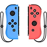Kinvoca Joy Con Controller Replacement for Nintendo Switch  L/R Joycon Pad with Wrist Strap  Alternatives for Nintendo Switch Controllers  Wired/Wireless Switch Remotes - Red and Blue