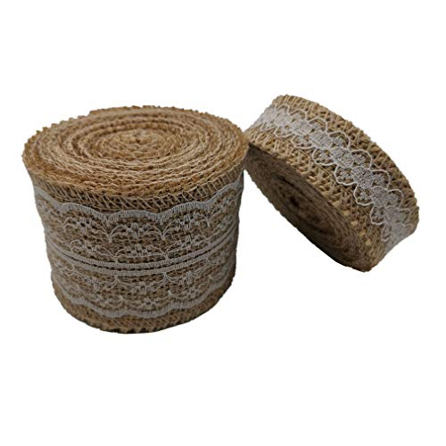 (2 Rolls Natural Fabric Burlap Ribbon Roll with White Lace Trims Tape Embellishments DIY Crafts)