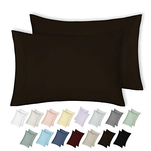 - California Design Den 400 Thread Count 100% Cotton Pillowcase Set of 2, Long - Staple Combed Pure Natural Cotton Pillowcase, Soft & Silky Sateen Weave (King, Chocolate Brown)
