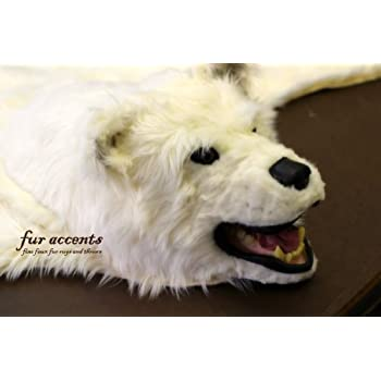 Fur Accents Original Classic Bear Skin Rug With Head / Polar Bear Off White  Faux Fur 5u0027