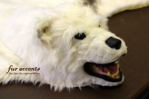 Fur Accents Original Classic Bear Skin Rug with Head / Polar Bear Off White Faux Fur 5' by Fur Accents