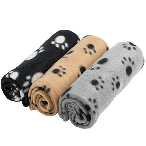DIGIFLEX Grandes Mantas de Suave Felpa - Para Perros, Gatos, Conejos y Otras Mascotas - Una Buena Adicion a la Cama de Su Animal - Mantas para Perros - Mantas de Gatos - 3 Unidades - 68cm x 92cm