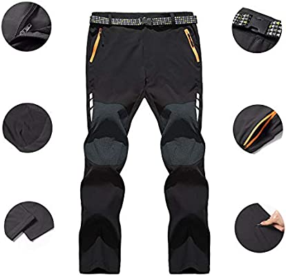 LHHMZ Men/'s Soft Shell Fleece Lined Hiking Trousers Outdoor Waterproof Breathable Thicken Winter Warm Walking Climbing Pants