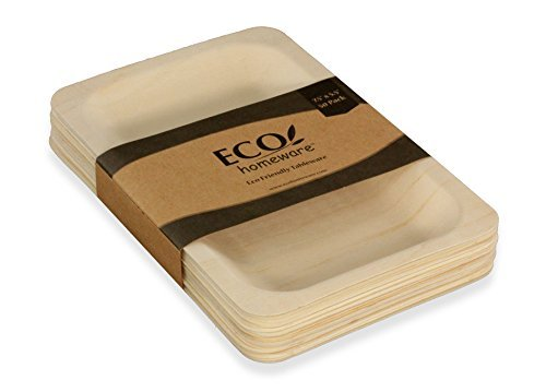 """Disposable Wood Plates 15.5"""" x 11"""" – 5Pk. Natural Eco-Friendly Alternative to Plastic and Styrofoam that is Compostable and Biodegradable. Great for Parties, Weddings, Entertaining & Catering -"""