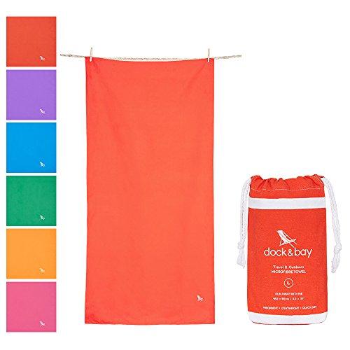 Dock & Bay Microfiber Towel - Travel & Outdoors (Coral Red - Large 63x31) - premium microfibre towels for swim & beach