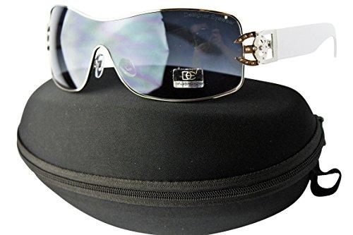 D1068-cc Designer Womens Rhinestone Sunglasses (E18 Silver/White, gradient)