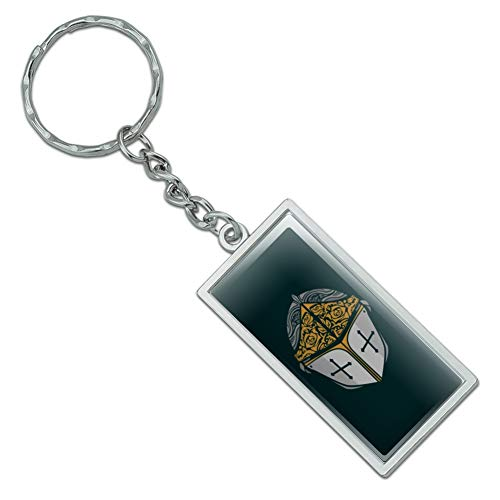 (Graphics and More Knight Warrior Helmet Medieval Roses Templar Rectangle Chrome Plated Metal Keychain Key Chain)