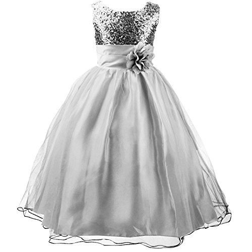 Acecharming Little Girls' Sequin Mesh Flower Ball Gown Party Wedding Tulle Ruffle Dress, Suitable for9-10 Years(Silver Gray) ()