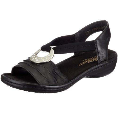 Rieker Regina 60823-01 - Sandalias de vestir de cuero para mujer Negro