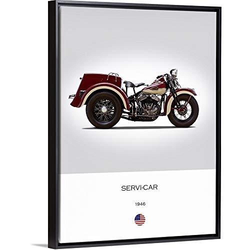 Mark Rogan Floating Frame Premium Canvas with Black Frame Wall Art Print Entitled Harley Davidson Servi Car 1946 30