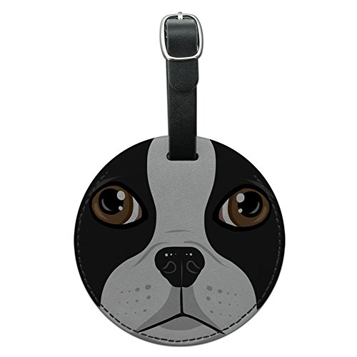 Graphics & More Boston Terrier Face Pet Dog Round Leather Luggage Id Tag Suitcase Carry-on, (Boston Terrier Face)