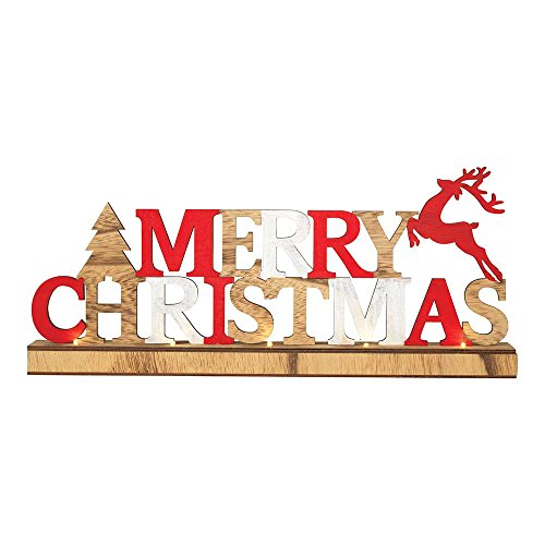 Dicksons Merry Christmas Prancing Reindeer 17.75 x 7.75 Wood Christmas LED Tabletop Plaque
