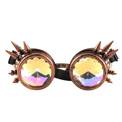 CYCTECH Unisex Trendy Kaleidoscope Sunglasses Rave Festival Party EDM Mirror Diffracted Lens Travel Driving Glasses (Dark - Face Of Oval Glasses For Type