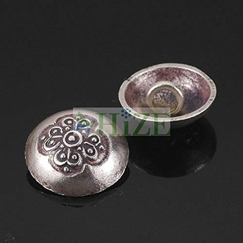 Design Ideas - HIZE SB709 Thai Karen Hill Tribe Silver Heart Flower Focal Button Braiding Clasps Beads 12mm (6) - Unique Selection Beads