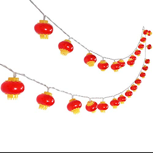 KissDate LED Red Lanterns String Lights 13ft/4M 40 Lanterns Battery Operated for Chinese New Year Decoration, Festival Wedding Party Christmas Decoration for $<!--$12.80-->