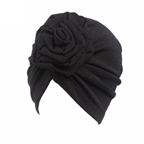 Girls Head Scarf - Tiean Children Baby Girls Boho Hat Beanie Scarf Turban Head Wrap Cap (Black)