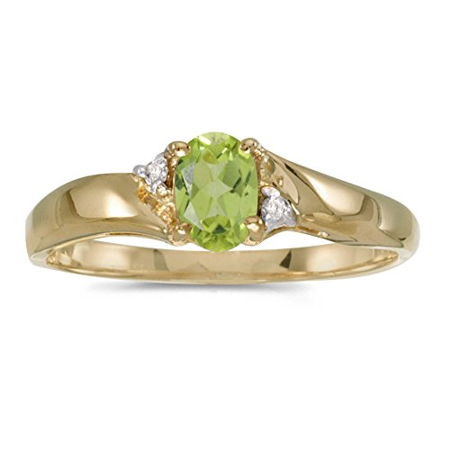 FB Jewels 14k Yellow Gold Genuine Green Birthstone Solitaire Oval Peridot And Diamond Wedding Engagement Statement Ring - Size 9.5 (2/5 Cttw.) ()