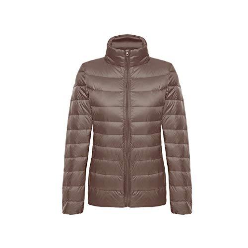 95% Duck Down Coat Warm Solid Portable Stand Collar Down Jacket Winter,Khaki,XXL