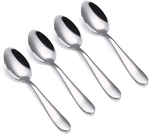 VANRA 4-Piece Children Spoons Stainless Steel Kids Dinner Spoons Child Silver Cutlery Set 6-inch (4 spoons)