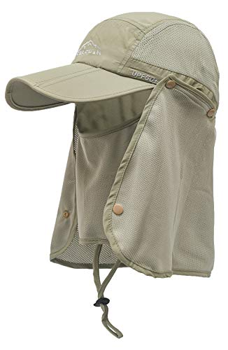 ELLEWIN Outdoor Fishing Flap Hat UPF50 Sun Cap Removable Mesh Face Neck Cover, D-khaki/ Mesh Neck Cover, M-L-XL