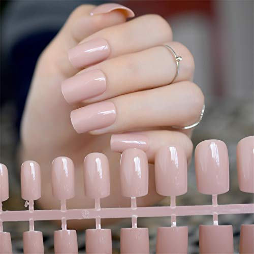 Soft Nude Matte False Fake Nail Shimmer Glint Glitter Long Square Frosted Artificial Full Nails Tip Faux Ongle Daily Office UV light brown]()