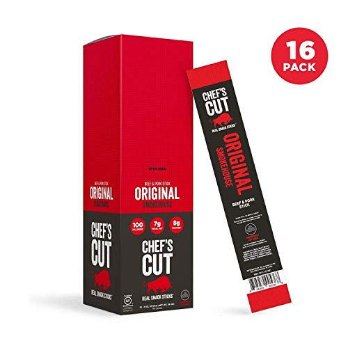 Chef's Cut Tender Real Snack Beef and Pork Original Smokehouse Sticks - Made with Premium Cuts, Gluten & Nitrite Free - Keto & Paleo Friendly, 1 Ounce (16 Count)