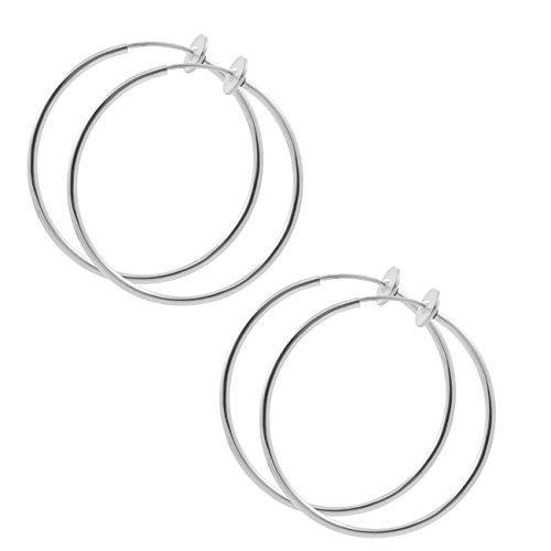 2 Pair of Clip On Hoop Earrings-Various Sizes and Colors-Non Pierce Hoop (3 Person Halloween Costumes Guys)