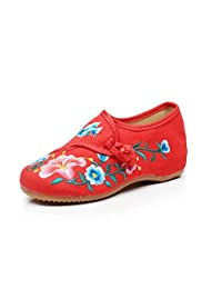 ZYZF Chinese Embroidery Oxfords Sole Girls Mary Jane Shoes