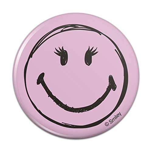Smiley Smile Happy Girl Eyelashes Pink Face Compact Pocket Purse Hand Cosmetic Makeup Mirror - 3