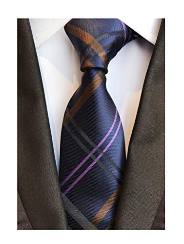 - Men's Navy Blue Brown Pink Geometric Plaids Striped Tie Trendy Patterned Necktie
