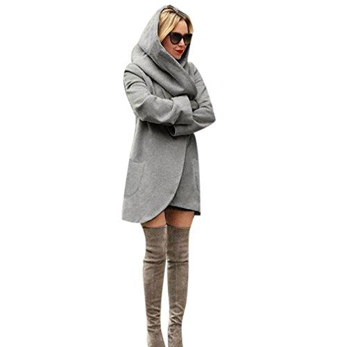 Blackobe Fashion Women's Long Sleeve Open Front Cardigan Sweater Windbreaker Coat (L, Dark Gray)