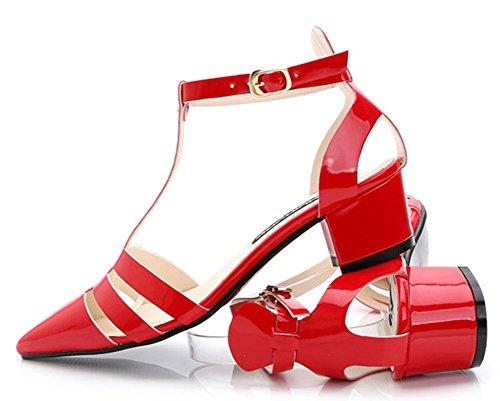 Strap Kitten neue süße T aushöhlen Heels rot Sandalen Aisun Damen schnallen spitzen qxRwBfAXB