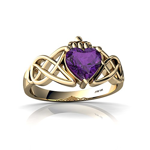 14kt Yellow Gold Amethyst 6mm Heart Claddagh Celtic Knot Ring - Size 7.5