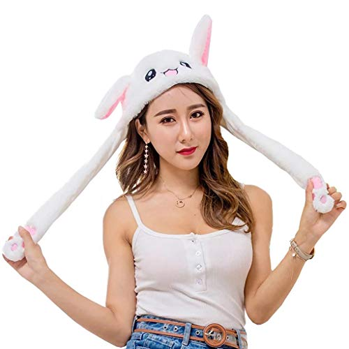 GKanMore Funny Rabbit Ear Hat Can Move Cute Soft Plush Bunny Hat Cap Headband for Women Girls (White) ()