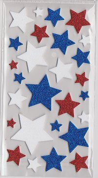 3-d Red White Blue Americana Star Glitter Foam Dimensional Stickers (Unity Star)