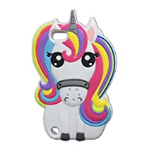 iPod Case iPod Touch 5 Case,J.Thor Cute Animal Unicorn Horse Silicone 3D Colorful Phone Case Cover For iPod Touch 5 5th