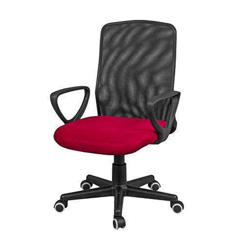 duehome Silla de Oficina, Silla para Escritorio o Estudio, Medidas: 58x88,5x55cm, Coco (Rojo)