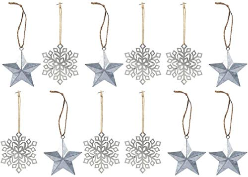 12 pc - Metal Snowflake and Star Ornaments | 6 of each style | Rustic Country Christmas Tree Tin Ornaments | 3 1/2 to 4 inch (Ornament Christmas Metal Snowflake)