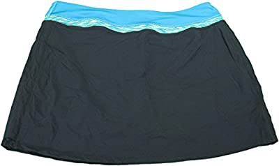Tangerine Ladies Medium Elastic Waistband Athletic Skort, Black/Blue/Teal