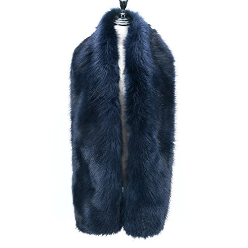 Caracilia Women's Faux Fur Long Scarf Shawl Collar Wrap Stole Navy Blue ()