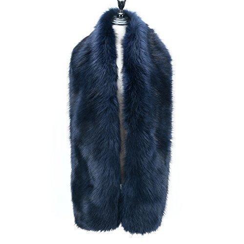 (Caracilia Women's Faux Fur Long Scarf Shawl Collar Wrap Stole Navy Blue 180CA97)