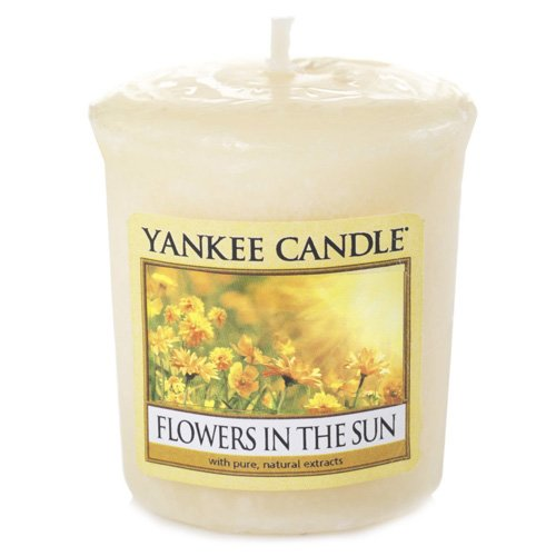 YANKEE CANDLE Samplers Candele Votive Flowers in The Sun, Cera, Giallo, 4.5 x 4.5 x 5.3 cm 1351661E