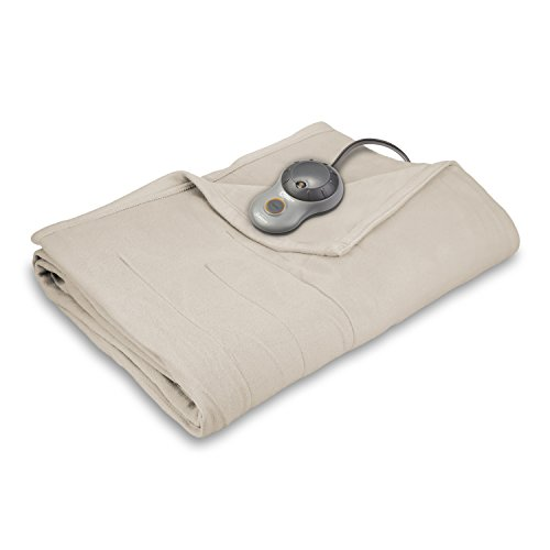 Sunbeam Quilted Fleece Heated Throw Blanket with EasySet Pro Controller, Full, Seashell Beige