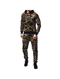 Mens Hoodies Pervobs Men Active Tracksuits Camo Hooded Pullover Sweatshirt Top Sport Pants Sets Tracksuit Suit