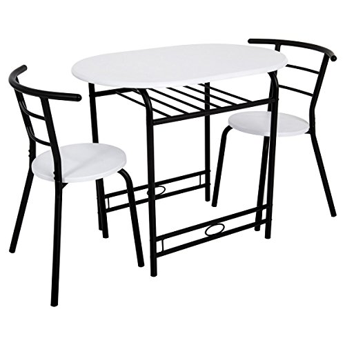 Giantex 3 PCS Dining Set For 2 Round Matching Chairs with Home Kitchen Table Breakfast Bistro Pub Furniture (White)
