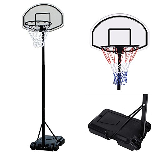 Portable Outdoor Indoor 6.7 Ft Basketball Goal Hoop Stand Alone System Kit Set with Wheel & Net – Height Adjustable Standard High Performance Pro Court Strong for Driveway Home House Kid Junior Senior