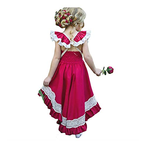 Baby Girls Princess Formal Flower Fly Sleeve Wedding Ruffle Irregular Backless Skirt Long Tail Dress]()