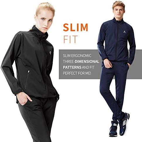 KEBILI Full Zip Up Sauna Jacket Pants for Women Men Weight Loss 3
